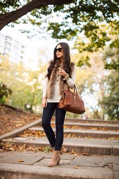 Equal parts practical and glamorous, a faux-fur vest will keep you warm till winter without sacrificing style. Wondering how to wear it? Here are 25 faux-fur vest outfit ideas to copy this season. Fashion Mode, Moda Fashion, Womens Fashion, Fashion Trends, Trending Fashion, Fashion News, Fashion Beauty, Winter Looks, Fall Looks