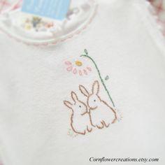 Two Little Bunnies Ruffled Onesie Hand by CornflowerCreations, $22.00