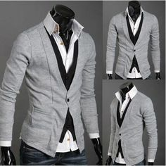 Stylish Slim Fit Fashion One Button Long Sleeves Wool Flock Cardigan For Men Latest Mens Fashion, Korean Fashion, Men's Fashion, Cardigan Outfits, Gray Cardigan, Wool Cardigan, Vogue, Fashion Leaders, Well Dressed Men