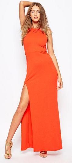 Missguided Slinky Side Split Maxi Dress
