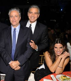 Jon Stewart, George Clooney and Sandra Bullock attend the USC Shoah Foundation Institute Ambassadors for Humanity Gala at the American Museum of Natural History in NYC on October 3, 2013