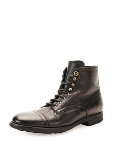 Milano+Lace-Up+Leather+Boot+by+Dolce+&+Gabbana+at+Bergdorf+Goodman.
