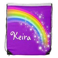 Name purple rainbow stars drawstring bag #drawstring #backpack