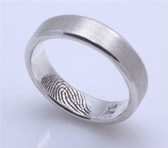 Custom Inner Fingerprint Ring Sterling Silver Engraving Wedding