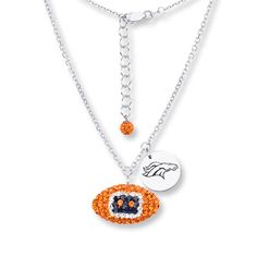 Our Denver Broncos crystal football necklace features team colored Austrian crystals. Sterling silver diamond cut cable chain and lobster clasp. Football dimensions: slightly smaller than a dime. Denver Broncos Womens, Denver Broncos Football, Go Broncos, Broncos Fans, Football Baby, Crystal Necklace, Sterling Silver Necklaces, Broncos Apparel, Football Necklace
