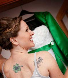 bride with shamrock tattoo