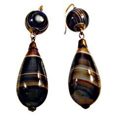 Antique Banded Agate Teardrop Earrings