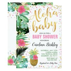 Aloha Baby Shower Invitation Tropical Baby Shower Custom invitations - Make your special day with these personalized change the colors font and images and make them your own. Flamingo Baby Shower, Baby Shower Niño, Baby Girl Shower Themes, Shower Party, Baby Shower Parties, Baby Shower Gifts, Baby Gifts, Flamingo Party, Shower Games