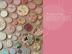 i am totally already doing this soooooo.... thanks GWS for stealing my idea. Embroidery Hoop Decor, Cute Embroidery, Granny Chic, Green Wedding Shoes, Wall Collage, Mini Quilts, Baby Quilts, Fabric Crafts, Diy Crafts