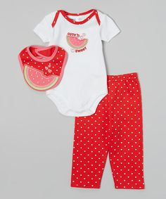 Look what I found on #zulily! White & Red 'Cute 'N Sweet' Watermelon Bodysuit Set - Infant by Peanut Buttons #zulilyfinds