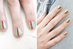 Tribal Nail Art: (Brit & Co) Very big for spring.  Don't know that I'd paint all of my nails in Aztec pattern.