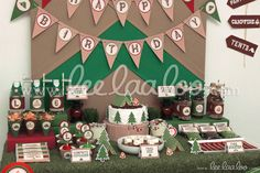 Dessert table and backdrop at a Camping boy birthday party!  See more party ideas at CatchMyParty.com!