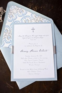 baby boy baptism invitation - light blue and grey on Etsy, $126.49 CAD