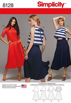 Two piece dress includes top with sleeve & length variations, skirt with waist options allowing you to create a look that shows more, less or no midriff. Choose the top length & skirt waist height that works for you. #simplicity #dress #pattern #8128