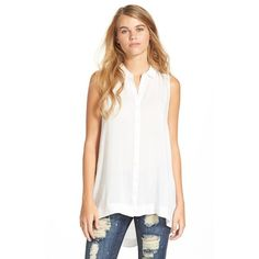 Junior Lush Button FrontSleeveless Tunic ($38) ❤ liked on Polyvore featuring tops, tunics, ivory, sleeveless tunic, ivory tunic, long white top, white sleeveless top y button front tunic