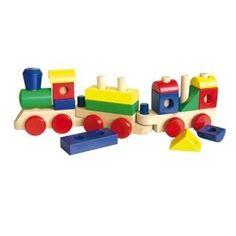 Leuke bouwtrein van het merk Simpley, met vrolijk gekleurde blokken