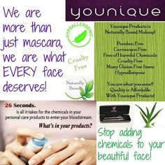 *All of Younique's Cosmetics and Skin Care Products are Naturally-Based *Our Products are Paraben, Carcinogen, Talc, and Chemical Free *They are Cruelty Free - No Animal Testing *Many are Vegan Friendly *Most are Gluten Free *They're Hypo-Allergenic. Order at www.youniqueproducts.com/sarahgrindley and it ships directly to you!