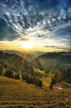 Wallberg Mountain Sunset, Bavaria, Germany