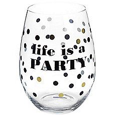 image of Life is a Party Stemless Wine Glass