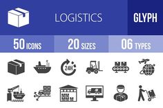 50 Logistics Glyph Icons by IconBunny on @creativemarket