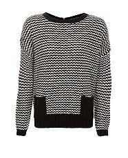 Black Pattern (Black) Monochrome Stitch Zip Back Jumper | 254287509 | New Look  £19.99