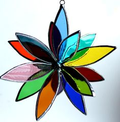Vitrales flor 3D - Suncatcher - en plena floración - arco iris
