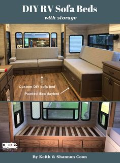 DIY RV sofa beds with storage by Keith and Shannon Coon rv remodel DIY Sofa Inspiration for Your RV Diy Sofa, Rv Sofa Bed, Camper Storage, Diy Camper, Camper Ideas, Caravan Ideas, Airstream, Sofa Bed With Storage, Diy Storage Sofa