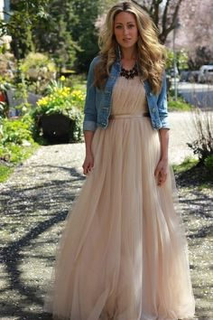 cropped denim & tulle maxi dress