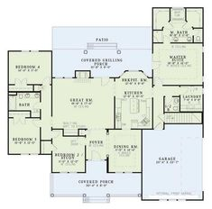 COOL house plans offers a unique variety of professionally designed home plans with floor plans by accredited home designers. Styles include country house plans, colonial, Victorian, European, and ranch. Blueprints for small to luxury home styles. Country Style House Plans, Dream House Plans, House Floor Plans, My Dream Home, 2200 Sq Ft House Plans, 4 Bedroom House Plans, House Plans One Story, Story House, Monster House Plans