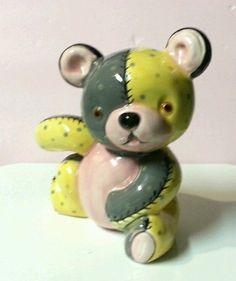 "Vintage 6.5"" Napcoware Teddy Bear Planter K2288 ~ Baby Nursery Yellow Pink"