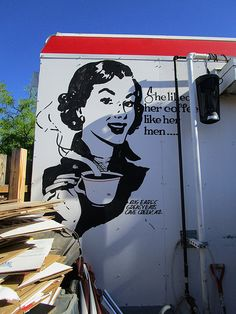 1950's-Style Retro Coffee Mural on Southern Wall, Big Earl's Greasy Eats, Cave Creek, AZ