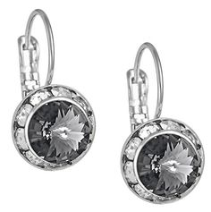 "SWAROVSKI Elements Earrings: Silver Tone Drop Earrings Made with Framed ""Black Diamond"" Color SWAROV.."