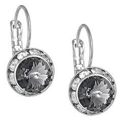 "SWAROVSKI Elements Earrings: Silver Tone Drop Earrings Made with Framed ""Black Diamond"" Color SWAROV.."