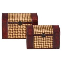 2 wood trunks with dome-shaped lids and houndstooth banding.  Product: Small and large trunkConstruction Material: