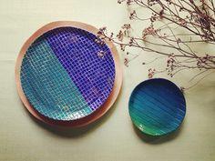 Ceramic blue plates