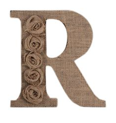 "10"" Wood Letter R, for this letter we simply covered the letter in burlap and then embellished it by using burlap flowers down the side.Use book pages or covers for the background"