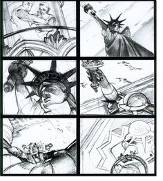 "hitchcock storyboards ""Excellent, famous sequence. Hitch liked to use iconic settings the chase scene over Mt Franklin and the faces of the president from Nth by Nthwst is another case in point."" KB"