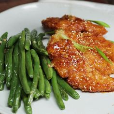 How to make baked honey garlic chicken tenders with green beans.