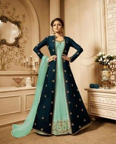 Shop a Party wear designer Anarkali Suit online, Purchase a Designer Anarkali Suit at Best price Indian Gowns Dresses, Indian Fashion Dresses, Indian Designer Outfits, Abaya Fashion, Indian Outfits, Fashion Clothes, Designer Dresses, Girl Fashion, Fashion Outfits