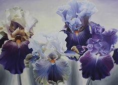 I paint large floral paintings of Peonies, Iris and Roses. Purple Peonies, Purple Iris, White Peonies, Yellow Roses, White Roses, Pink Purple, White Iris, Art Society, Arts Award