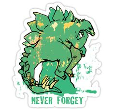Funny Never Forget Stegosaurus sitting and pondering on rock of ages like the iconic thinker by Rodin. College humor die-cut sticker by Mudge Studios makes great gift ideas for eveybody. Rock Of Ages, Love Stickers, College Humor, Rodin, Never Forget, Sticker Design, Studios, Great Gifts, Science