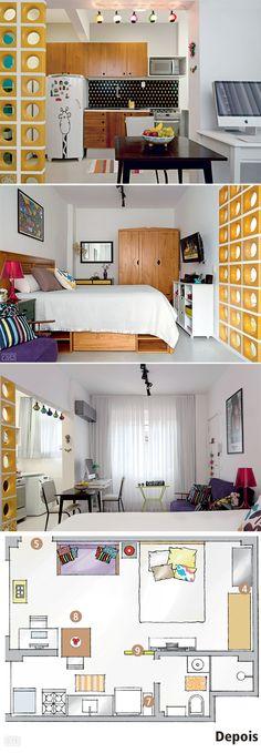 Cobogós amarelos dão um tom divertido além de separar a cozinha do restante do apartamento.