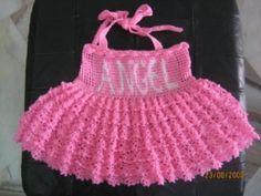 pink halter baby dress crochet baby dress