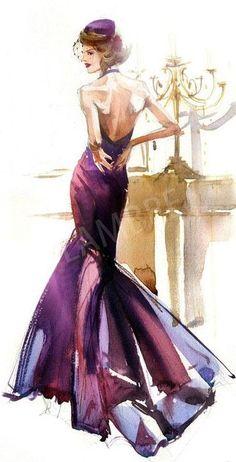 Bordeau dress | Fashion illustration | ◆F&I◆