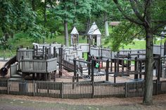 Pleasant Kingdom is a large wooden playground in Pleasant Hills (South Hills) located behind the Pleasant Hills Municipal building. WhenI was aresident of the South Hills area and frequented the park with my son. The unique wooden playground is quaintly tucked under large shade trees. Elevated grassy knolls provide great views of the entire playground…