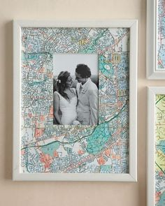 Map Picture Frames DIY Map Mat: using a craft knife, trim maps to cover photo mats from your favorite frames. When finished, lay the map on top of the mat (you don't even have to tape it), and cover with the glass. We used a West Elm white gallery frame. Diy And Crafts, Arts And Crafts, Foto Fun, Map Pictures, Display Pictures, Ideias Diy, Crafty Craft, Crafting, Home And Deco