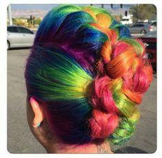 Braided Mohawk rainbow dyed hair color