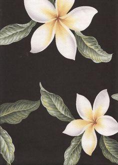 Plumeria Black Tropical Hawaiian Plumeria Frangipani Flowers on a  cotton Upholstery Fabric.  More fabrics at: BarkclothHawaii.com
