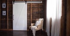 Loving the contrast of the white Z barn door in this space!