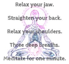 Meditate for one minute.